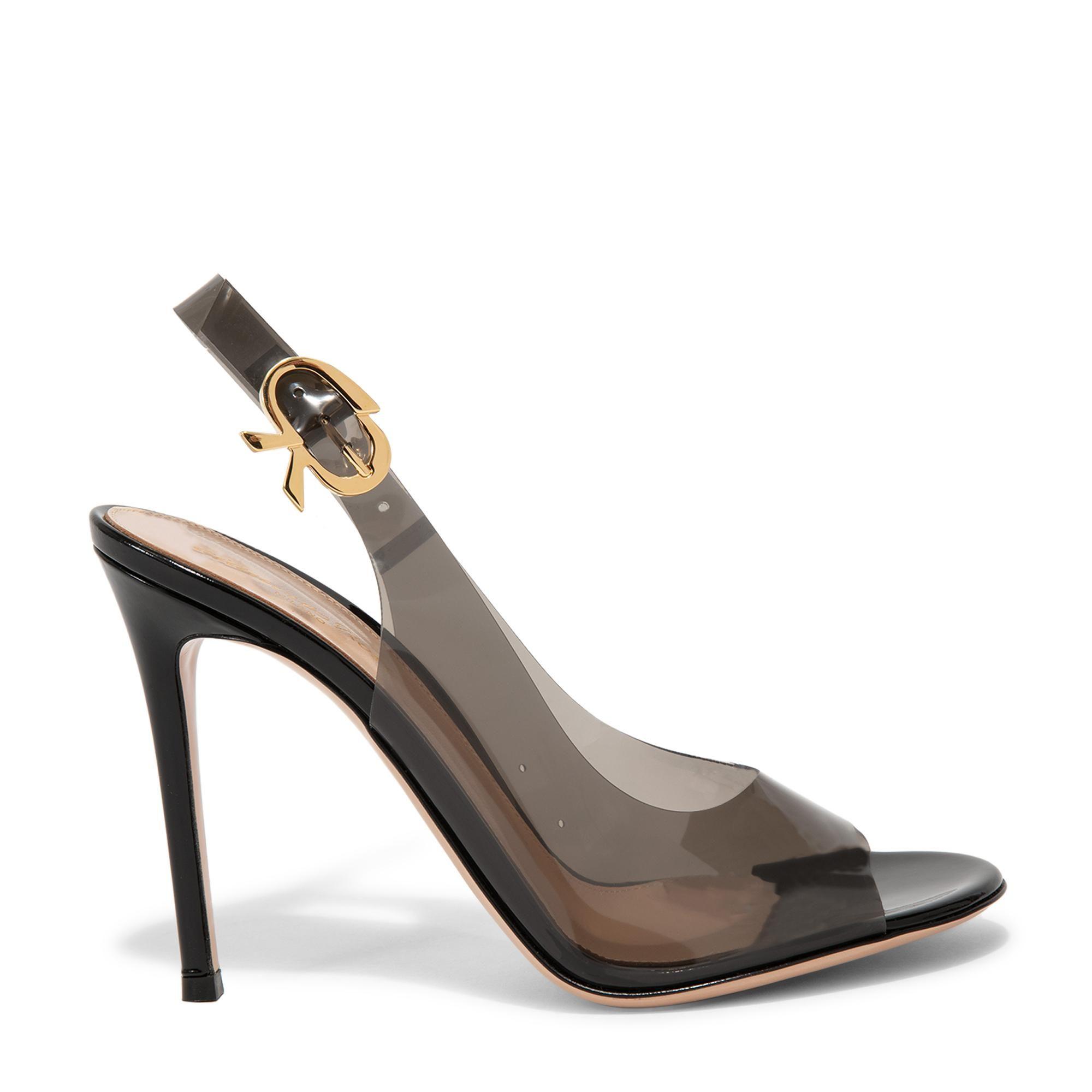 حذاء عالٍ من مادة البولي فينيل كلوريد بفتحة أمامية صغيرة